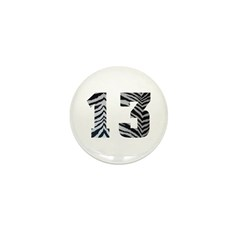 LUCKY NUMBER 13 ZEBRA Mini Button (10 pack)