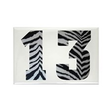 LUCKY NUMBER 13 ZEBRA Rectangle Magnet