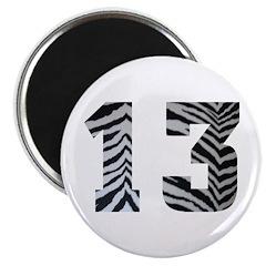 LUCKY NUMBER 13 ZEBRA Magnet