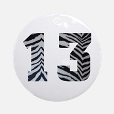 LUCKY NUMBER 13 ZEBRA Ornament (Round)