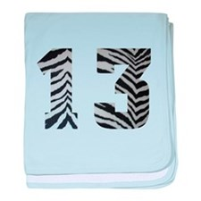 LUCKY NUMBER 13 ZEBRA baby blanket