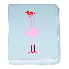 Two Christmas Flamingos baby blanket