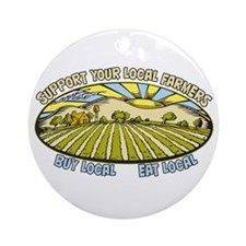 Support Your Local Farmers Ornament (Round)