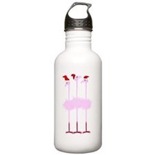 Three Christmas Flamingos Water Bottle