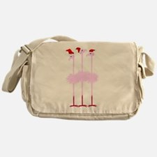 Three Christmas Flamingos Messenger Bag