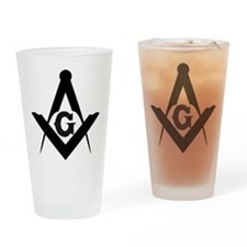 Outline Square and Compass Drinking Glass