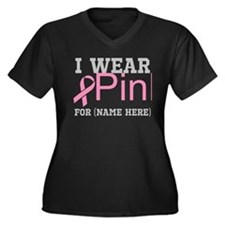 Personalize I Wear Pink Women's Plus Size V-Neck D