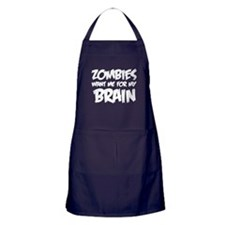 Zombies want me for my brain Apron (dark)