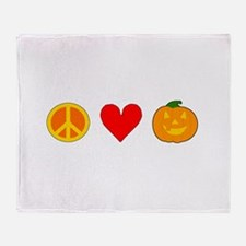 Peace Love Halloween Throw Blanket