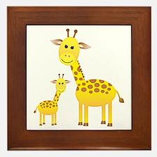 Little & Big Giraffes Framed Tile