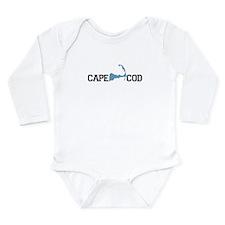 Cape Cod MA - Map Design Long Sleeve Infant Bodysu