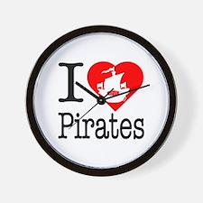 I Love Pirates Wall Clock