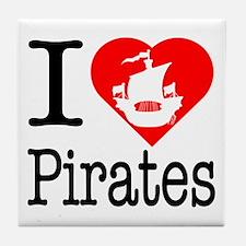 I Love Pirates Tile Coaster