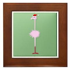 Pink Christmas Flamingo 3 Framed Tile