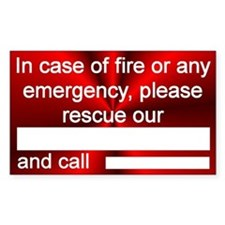 """Pet Emergency Rescue"" Rectangle Decal"