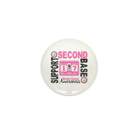Second 2nd Base Breast Cancer Mini Button (10 pack