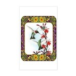 Hummingbirds and Flowers #5 Sticker (Rectangle)