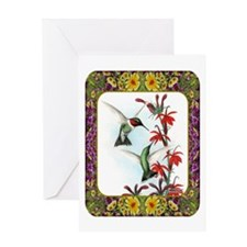 Hummingbirds and Flowers #5 Greeting Card