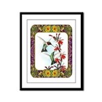 Hummingbirds and Flowers #5 Framed Panel Print