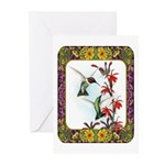 Hummingbirds and Flowers #5 Greeting Cards (Pk of