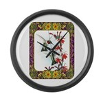 Hummingbirds and Flowers #5 Large Wall Clock