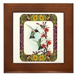 Hummingbirds and Flowers #5 Framed Tile