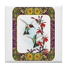 Hummingbirds and Flowers #5 Tile Coaster