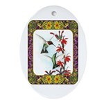 Hummingbirds and Flowers #5 Ornament (Oval)