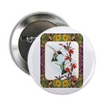 "Hummingbirds and Flowers #5 2.25"" Button"