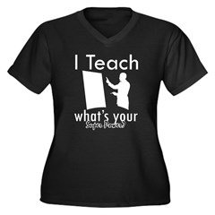Cool Teacher designs Women's Plus Size V-Neck Dark