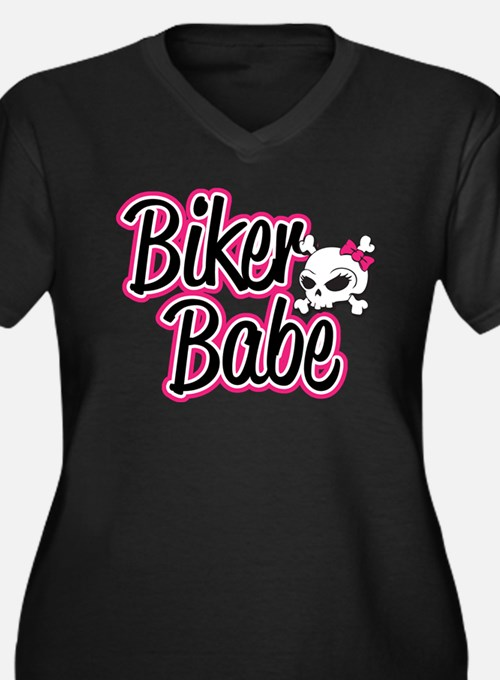 Biker Babe Women's Plus Size V-Neck Dark T-Shirt