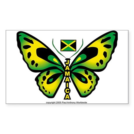 Jamaica Butterfly Rectangle Sticker