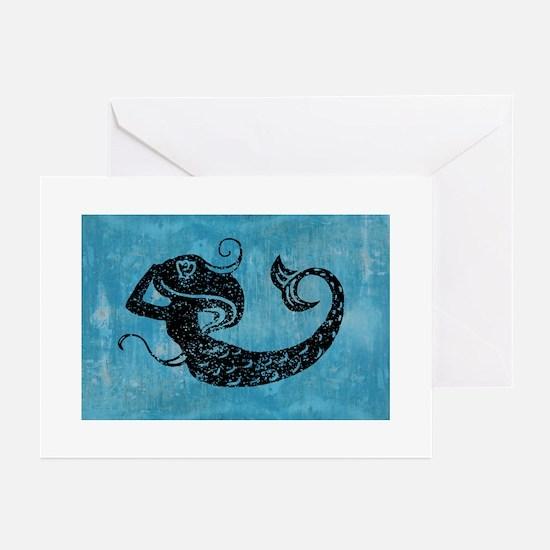 mermaid-worn_12x18 Greeting Cards