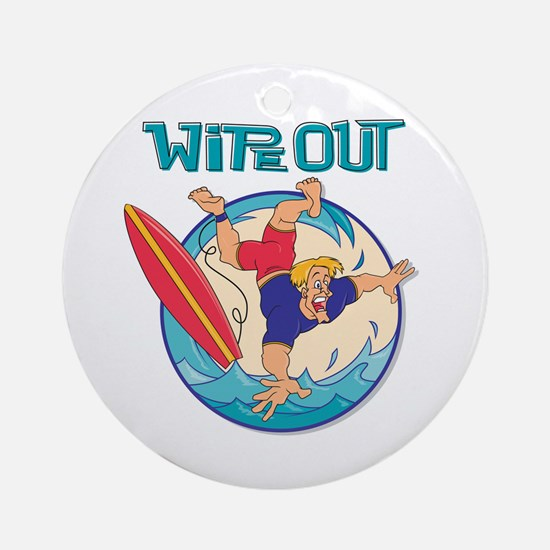 Wipe Out Surfer Ornament (Round)