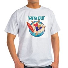 Wipe Out Surfer Ash Grey T-Shirt