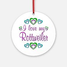 Love My Rottweiler Ornament (Round)