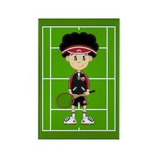 Cute Tennis Boy on Court Magnet