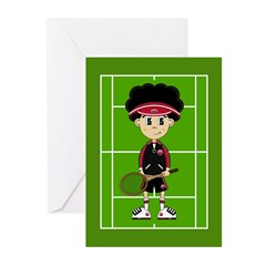Cute Tennis Boy on Court Greeting Cards (Pk of 10)