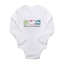 Peace, Love, Basenjis Long Sleeve Infant Bodysuit
