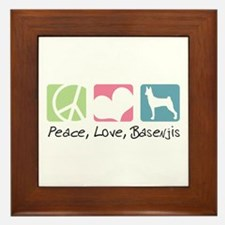 Peace, Love, Basenjis Framed Tile