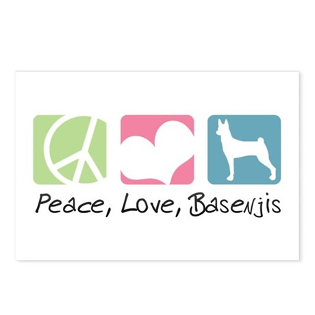 Peace, Love, Basenjis Postcards (Package of 8)