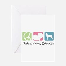 Peace, Love, Basenjis Greeting Card
