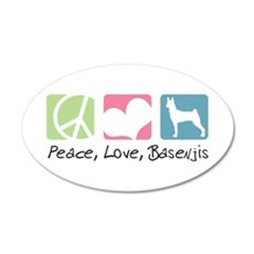 Peace, Love, Basenjis 22x14 Oval Wall Peel