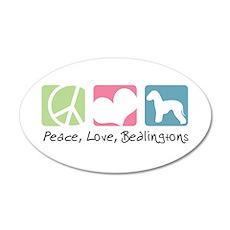 Peace, Love, Bedlingtons 22x14 Oval Wall Peel