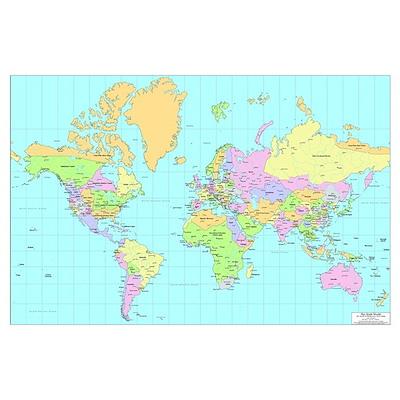 World Map, circa 2060 Poster