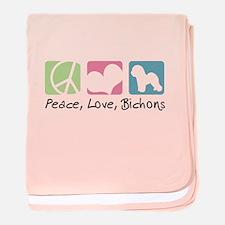 Peace, Love, Bichons baby blanket