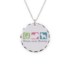 Peace, Love, Bichons Necklace