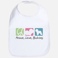 Peace, Love, Bichons Bib