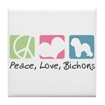 Peace, Love, Bichons Tile Coaster