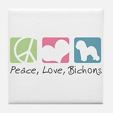 Peace, Love, Bichons Tile Coaster